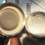 white rubber gasket, metal permafilter of moka pot