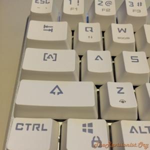 68 Keys Mini Magicforce mechanical keyboard showing the tab, caps, shift, and ctrl keycaps