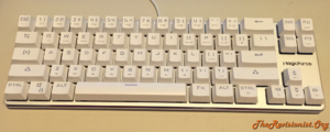 68 Keys Mini Magicforce mechanical keyboard not glowing showing doubleshot see through transparent lettering keycaps