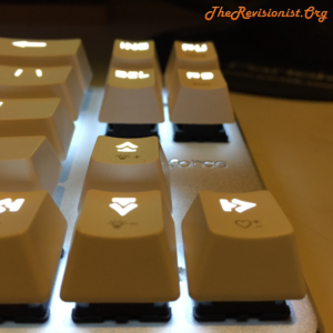68 Keys Mini arrow keys glowing keycaps close up for Magicforce mechanical keyboard