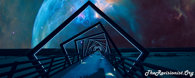 celestial snow bridge with blue cloudy nebula in the sky