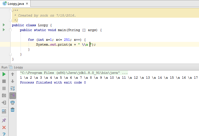 Java for loop make numerline
