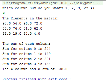 Java Dimensional Array sum of all columns code 2