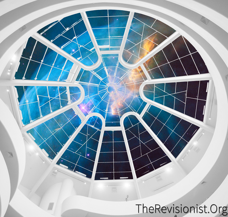 white tower ceiling glass window observatory with blue yellow nebula clouds in space
