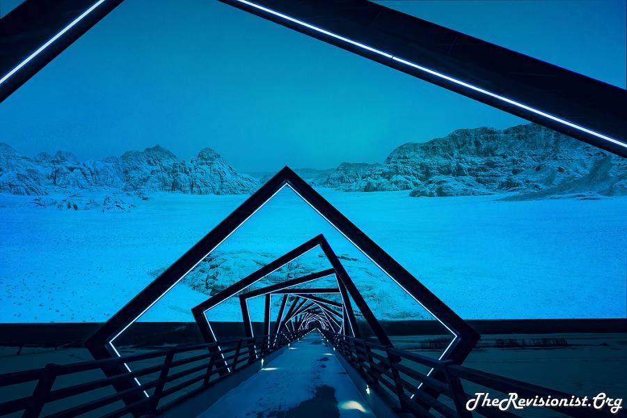 snowy desert dark & cloudy with celestial snow bridge