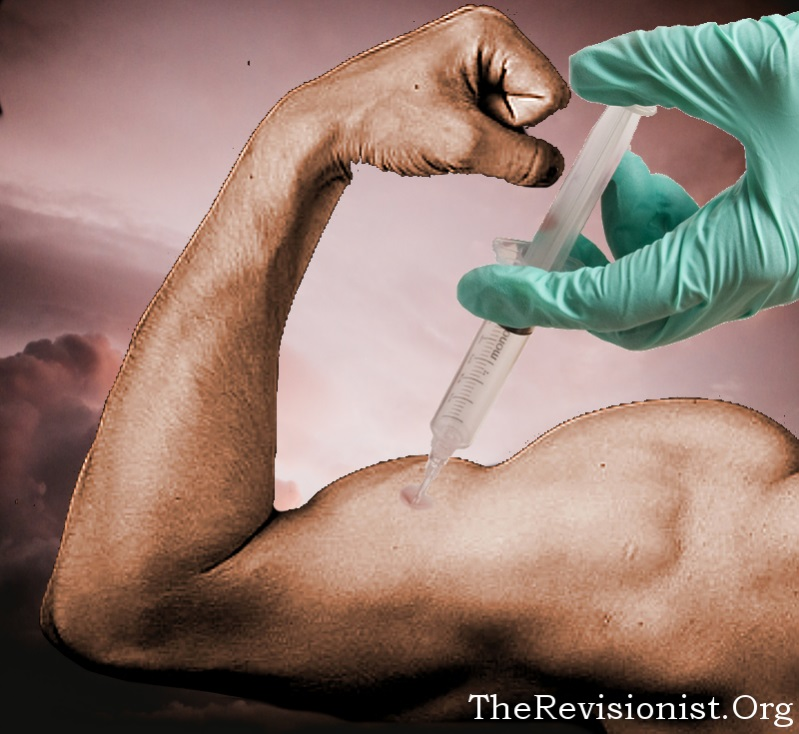 A left arm being injected with deliciuos Growth Hormone Miracle Gro