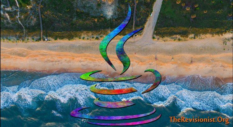 rainbow symbol of java programming ontop of beach image