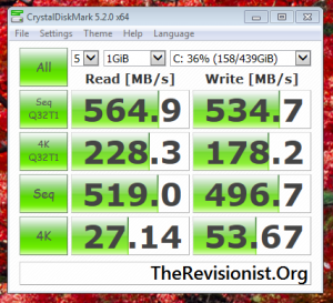 PNY CS1311 SSD speed test crystalDiskMark