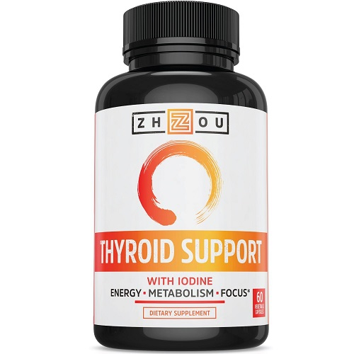 Zhou dietary supplement thyroid support with iodine for better energy, metabolism, and focus