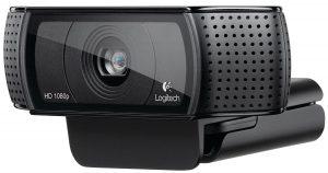 Logitech HD Pro Webcam C920 close up view on camera lense and audio