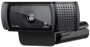 Logitech HD Pro Webcam C920 close up view on camera lense and audio