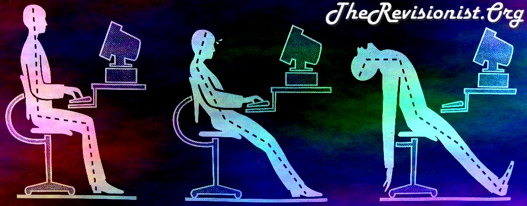 ergonomic correct posture, then slouching posture, then back dangerously bent backward posture