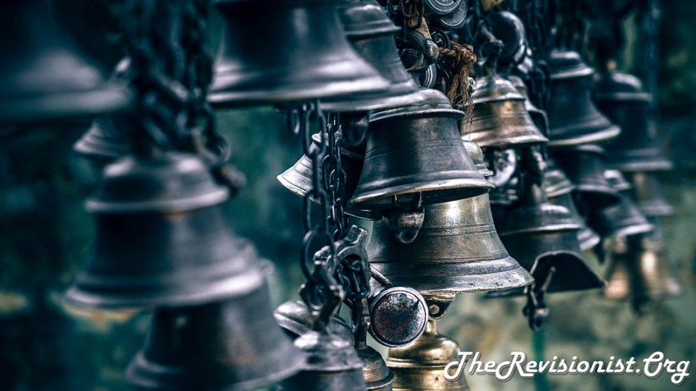 row of iron bells
