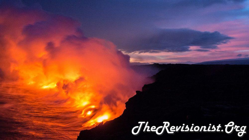 lava pouring into the sea