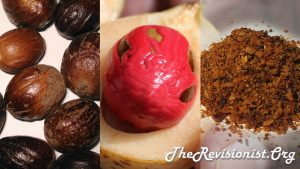 Nutmeg red aril brown nuts brown powdered nutmeg